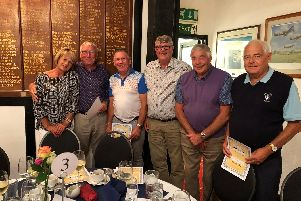 Bognor Golf Clubs 200 Club Team presentation. From left are Debbie Fenton, Derek Dady, Roland Heath, Norman Lee, Bill Houston  and Dave Lynn. Sadly Dave - who loved his golf - has passed away since the picture was taken