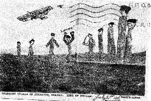 The front of the postcard, featuring drawings over the standing stones