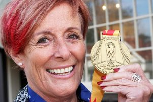 Sarah Jouault with her New York City Marathon medal. Photograph: Derek Martin/ dm111619a
