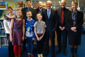 Year six arts ambassadors with special guests Nick Gibb, Richard Russell, Jane Bryant and Richard Beales