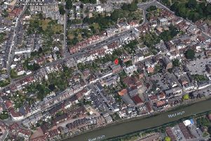 Aerial view of Arundel, with Sparks Yard in 18 Tarrant Street highlighted. Pic: Google Earth