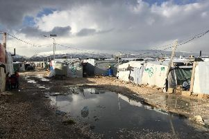 Day after the storm at Bekaa Valley refugee camp in Lebanon