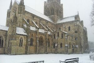 Chichester Cathedral in the snow
