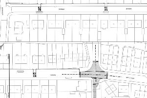 Traffic calming measures in Frith Road, Bersted. Engineer drawings from WSCC. Raised junction is shaded grey.