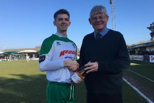 Doug Tuck receives his award from Simon Cook