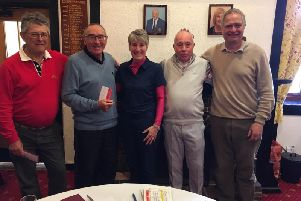 Mike Wadley, Richard Hedge, Trevor Till and Bill Cronin with Heather Tidy at Bognor GC