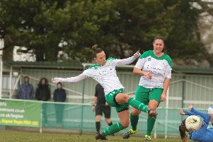 Jess Lewry (centre) opened the scoring in Chichester City Ladies' 3-1 home defeat against Loughborough Foxes. Picture courtesy of Hayley Newman.