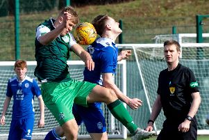 Tommy Block in action for the Hibs Development team