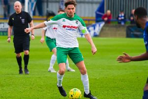 Skipper Harvey Whyte gets Bognor on the front foot at Wingate / Picture by Tommy McMillan