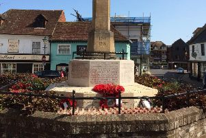 A banner was put up on the Arundel war memorial in the town centre