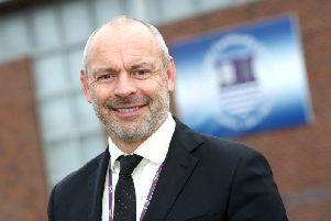 Headteacher Mark Anstiss outside the college