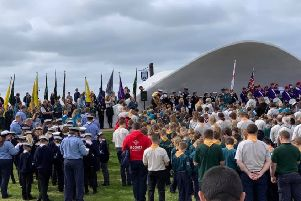 Scouts and their leaders gather at the Stage by the Sea for the promise renewal service