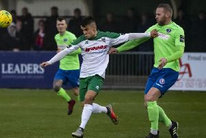 Freddie Read on the ball for the Rocks against Dorking last season / Picture by Tommy McMillan
