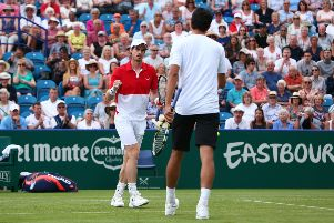 EASTBOURNE, ENGLAND - JUNE 25: Andy Murray of Great Britain and Marcelo Melo of Brazil in action during their mens doubles match against Columbian pair Juan Sebastian Cabal and Robert Farah during day two of the Nature Valley International at Devonshire Park on June 25, 2019 in Eastbourne, United Kingdom. (Photo by Charlie Crowhurst/Getty Images for LTA) 775270853