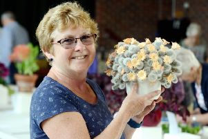 Sue Faircloth with her cactus