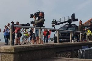 BBC Two camera crews filming on the promenade