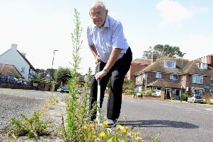 Gordon Hollox raised eyebrows when he was seen doing the councils job  by weeding the grass verges in his street last week. Photo: Kate Shemilt. ks190472-1