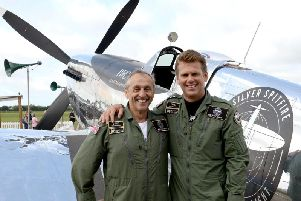 Round-the-world Silver Spitfire, Pilots Steve Brooks and Matt Jones. Photo by Kate Shemilt ks190450-1