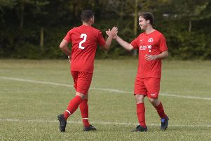 Bognor skipper Conor Crabb and Pat Bulbeck celebrate a goal against Brighton Electricity / Picture by Liz Pearce