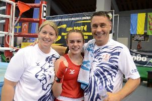 Holly with her England coaches