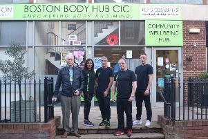 From Left to right, Boston Body Hub president John Burrows, Debra O'Neill strategic director, Mervyn Williams operational director, Alan Shaw drugs and substance misuse director, and manager Aarron Abbott. Image supplied