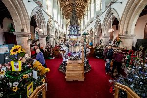 St James' Church, Frieston, during its latest Christmas tree festival.