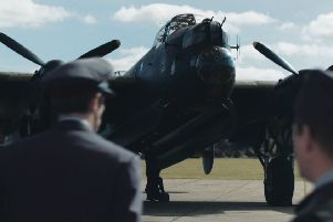 The Lincolnshire Aviation Heritage Centre and its Lancaster Just Jane are featured in the film, as seen here.