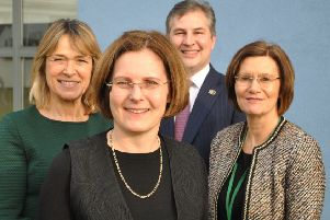 The Greater Lincolnshire LEP has appointed four new directors to its board. Pictured are Nick Worboys (left), Gary Headland (back centre) and Debbie Barnes (right) with the chairman Ursula Lidbetter MBE (front centre).