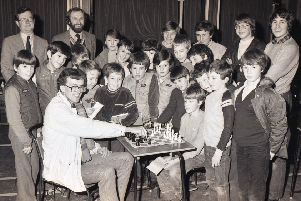 International chessmaster Andrew Martin came to Boston Grammar School in 1984 to play 25 youngsters aged between nine and 17 at the same time ' and he won every game. The event was a South Holland Schools Chess Association fundraiser.
