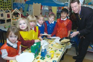 Pancake making at Boston West Primary School 10 years ago.