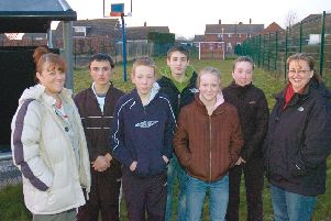 Pictured (from left): Youth support worker on REAL Bus Val Turner, Danner Holmes, Jack Bainbridge, Shane Picker, Hannah Picker, Emma Picker, and member of Town Hall committee Caroline Bayliss.