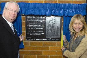 Environment Agency chairman Lord Chris Smith officially unveiling the Black Sluice Lock 10 years ago with Michaela Strachan.