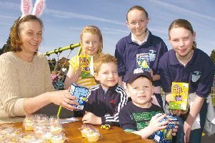 Pictured (from left) Bev Philp, of Donington's community group IDEA, Molly Hodgson, nine, Bradley Wray, four, Leah Bristow, 13, Stevie Abbott, three, and Alicia Inglis, 12.