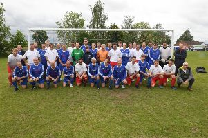 Swineshead football club Centenary Fun Day. Swineshead 2008/9 County Cup winning team v Swineshead Old Boys. EMN-190529-143714005
