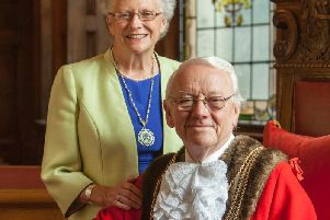 Cllr Richard Austin BEM, pictured with Alison, when he became Bostons 481st Mayor.