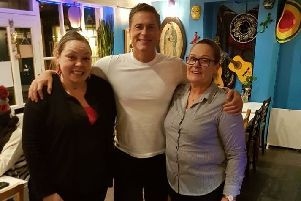 Wild Bill star Rob Lowe with Candida and her daughter Carla at Los Burritos.