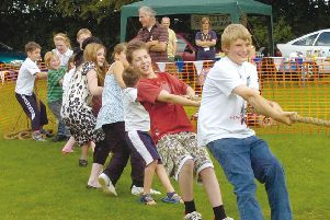 Tug of war at New Leake Primary SchooL's Summer Fair 10 years ago.