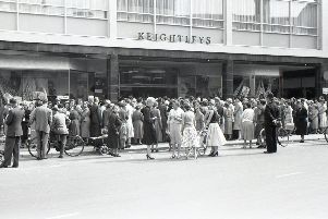 Crowds gather outside Keightley's in West Street on its opening day in 1959.