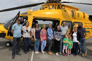Part of a group raising funds for the Lincs and Notts Air Ambulance through a 100km trek across Morocco, Sue Turner (in white).