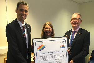 Paul Matthew with Elaine Baylis (ULHT Chair) and Andrew Morgan (ULHT chief executive)