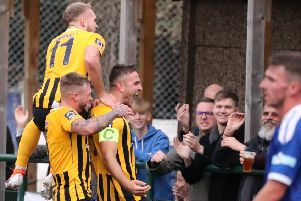 Luke Shiels celebrates scoring at Sutton Coldfield.