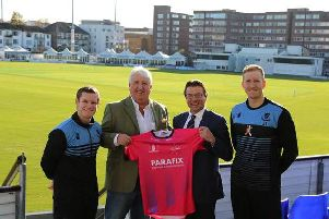 Sussex players Ben Brown and Luke Wells with Parafix Managing Director, Michael Punter and Sussex Crickets Chief Executive, Rob Andrew.