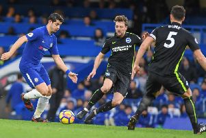 Dale Stephens closes down Alvaro Morata during Brighton's 2-0 defeat at Chelsea. Picture by Phil Westlake (PW Sporting Photography)
