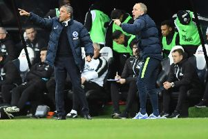 Chris Hughton shouts instructions at St James' Park. Picture by Phil Westlake (PW Sporting Photography)