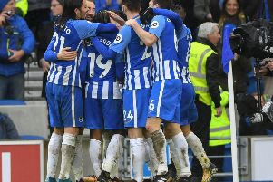 Albion players celebrate the second goal against Bournemouth. Picture by Phil Westlake (PW Sporting Photography)