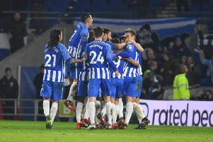 Albion players celebrate Glenn Murray's winner in the FA Cup triumph over arch-rivals Crystal Palace on Monday. Picture by Phil Westlake (PW Sporting Photography)