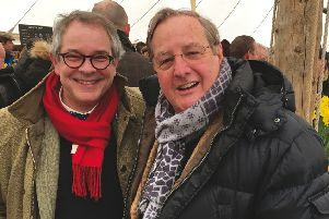 Rupert and Alan Toovey in the daffodil tent at the 76th Goodwood Member's Meeting.