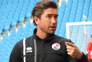 Crawley Town head coach Harry Kewell at the Parafix Sussex Senior Cup Final at the Amex on Wednesday night.