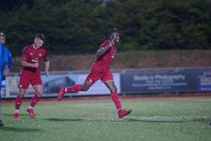 Former Brighton striker David Ajiboye, celebrating his goal against Gillingham under-23s, has been offered a deal at Worthing. Picture by Marcus Hoare