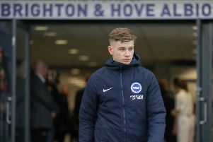 Brighton & Hove Albion's Max Sanders walks out at the Amex. Picture by BHAFC Paul Hazlewood